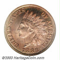 Proof Indian Cents: , 1883 1C PR65 Cameo PCGS. The surfaces of this reflective ...