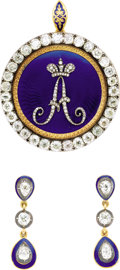 Estate Jewelry:Other , Rare Enameled and Diamond Pendant and Pair of Earrings ensuite, Adapted from an Emperor Alexander I Imperial Pres...(Total: 5 Items)