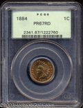 Proof Indian Cents: , 1884 1C PR67 Red PCGS. Orange-red and soft golden colors ...
