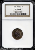 Proof Indian Cents: , 1886 1C Type Two PR65 Red and Brown NGC. An obviously ...