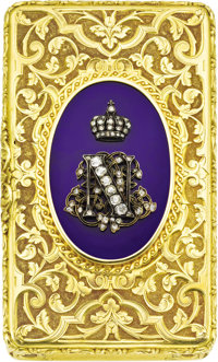French Emperor Napoleon III Gold and Diamond Presentation Snuffbox Retailed by Froment-Meurice, Paris, circa 1855, maker...