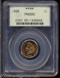 Proof Indian Cents: , 1898 1C PR65 Red PCGS. Both sides display noticeable ...