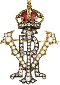 Victorian Diamond, Pearl, and Enameled Gold Royal Presentation Brooch English, circa 1880  Forming the entwined initi