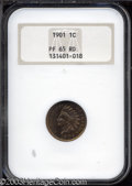 Proof Indian Cents: , 1901 1C PR65 Red NGC. An exquisitely struck Gem with ...