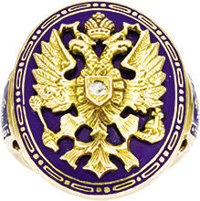 Gentleman's Enamel and Gold Ring 20th Century  In the Russian style, applied with a gold Russian imperial eagle on a