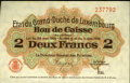 Luxembourg, Luxembourg: Kassenschein 2 Francs L. 1914-1918,...