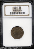Two Cent Pieces: , 1868 2C MS66 Red and Brown NGC. Smooth and virtually mark-...
