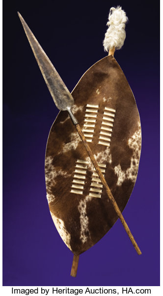 AUTHENTIC ZULU STABBING SPEAR AND SHIELD      Paleolithic