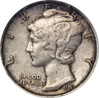 1916 Mercury Dime--Scratched--Judd-1983 (formerly Judd-1794), Pollock-2042, R.8 NCS. Proof XF Details....(PCGS# 62281)