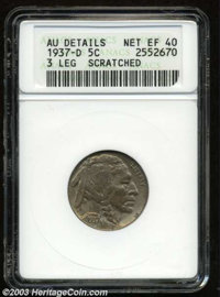 1937-D 5C Three-Legged--Scratched--ANACS. AU Details, Net XF40. The Indian has a central horizontal pinscratch, and the...