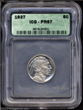 Proof Buffalo Nickels: , 1937 5C PR67 ICG. With the Indian fully frosted, there is ...