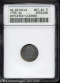 Early Half Dimes: , 1795 H10C --Repaired, Cleaned--ANACS. VG Details, Net AG3. ...