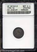 Early Half Dimes: , 1795 H10C --Ex-Jewelry, Damaged--ANACS. VF Details, Net Good ...
