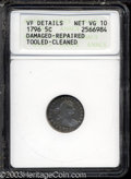 Early Half Dimes: , 1796 H10C --Damaged, Repaired, Tooled, Cleaned--ANACS. VF ...