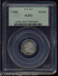 Early Half Dimes: , 1796 H10C AU50 PCGS. V-1, LM-1, R.3. The B in LIBERTY has ...