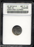 Early Half Dimes: , 1800 H10C --Scratched, Cleaned--ANACS. VF Details, Net Fine ...