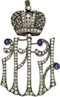 Jewelry, Rare Russian Imperial Diamond Maid of Honor Decoration. By Karl Hahn, 1896-1911, unsigned, with inventory number . D... (Total: 2 Items)