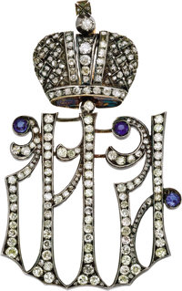 Rare Russian Imperial Diamond Maid of Honor Decoration By Karl Hahn, 1896-1911, unsigned, with inventory number  D