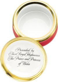 A Substantial Collection of Twenty Prince Charles and Princess Diana Halcyon Days Porcelain Pill Boxes, Each Presented t...