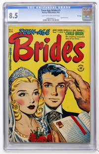 Teen-Age Brides #1 File Copy (Harvey, 1953) CGC VF+ 8.5 Light tan to off-white pages