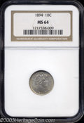 Barber Dimes: , 1894 10C MS64 NGC. A milky gray patina begins to form on ...