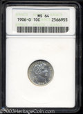 Barber Dimes: , 1906-O 10C MS64 ANACS. Even though only 2.6 million dimes ...