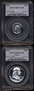 Proof Roosevelt Dimes: , 1953 10C Dime PR67 Cameo PCGS, beautifully preserved, ... (2 Coins)