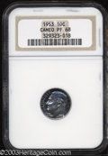 Proof Roosevelt Dimes: , 1953 10C PR68 Cameo NGC. Splendid blue and magenta ...