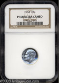 Proof Roosevelt Dimes: , 1954 10C PR68 Ultra Cameo NGC. Spectacular white on black ...
