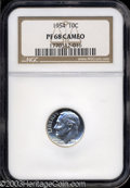 Proof Roosevelt Dimes: , 1954 10C PR68 Cameo NGC. Traces of gold near the rims ...