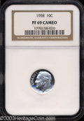 Proof Roosevelt Dimes: , 1958 10C PR69 Cameo NGC. A brilliant example with a ...