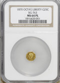 California Fractional Gold, 1870 25C BG-763 MS64 Prooflike NGC. . NGC Census: (1/0).(#710590)...