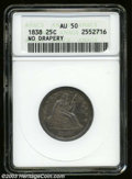Seated Quarters: , 1838 25C No Drapery AU50 ANACS. Typically struck with ...