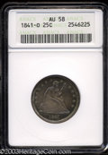 Seated Quarters: , 1841-O 25C AU58 ANACS. A sharply struck piece that is ...