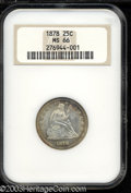 Seated Quarters: , 1878 25C MS66 NGC. Essentially untoned in the centers, ...