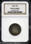 Proof Seated Quarters: , 1870 25C PR66 Cameo NGC. A beautiful Gem example from the ...