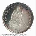 Proof Seated Quarters: , 1886 25C PR67 Cameo PCGS. Every design element on the ...