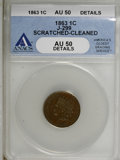 1863 1C One Cent, Judd-299, Pollock-359, R.3,--Cleaned, Scratched--AU50 ANACS. AU50 Details. NGC Census: (0/0). PCGS Pop...