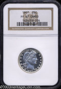 Proof Barber Quarters: , 1907 25C PR67 Cameo NGC. The icy-white devices and ...