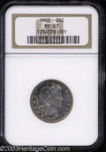 Proof Barber Quarters: , 1908 25C PR67 NGC. Vividly toned with blushes of mauve-...