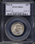 Washington Quarters: , 1932-D 25C MS64 PCGS. This is a solidly graded near-Gem ...