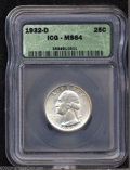 Washington Quarters: , 1932-D 25C MS64 ICG. Soft, frosted mint luster ...