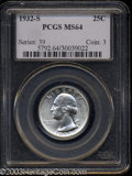 Washington Quarters: , 1932-S 25C MS64 PCGS. A well struck and brilliant example ...