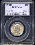 Washington Quarters: , 1934-D 25C MS64 PCGS. The obverse of this piece is a ...