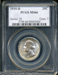 Washington Quarters: , 1935-D 25C MS66 PCGS. A high grade example of this semi-...