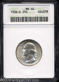 Washington Quarters: , 1936-D 25C MS64 ANACS. Well struck and satiny, with a few ...