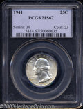 Washington Quarters: , 1941 25C MS67 PCGS. A bold striking with impeccable ...