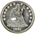 Proof Seated Quarters, 1881 25C PR62 PCGS. PCGS Population (51/182). NGC Census: (15/198).Mintage: 975. Numismedia Wsl. Price for NGC/PCGS coin i...