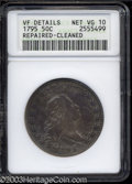 Early Half Dollars: , 1795 50C 2 Leaves--Repaired, Cleaned--ANACS. VF Details, ...