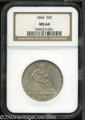 Seated Half Dollars: , 1864 50C MS64 NGC. A well struck and appealing specimen ...